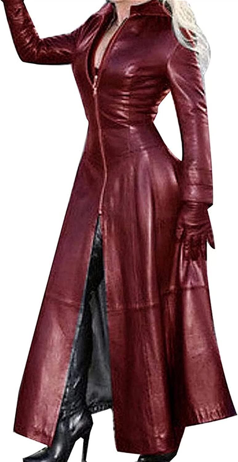 XiuLi Ladies' Elegant Slim fit Style Trench Coat in Leather Look with Asymmetrical Hem, Long Jacket in Leather Look (Color : Red Brown, Size : XX-Large)
