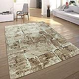 Paco Home Designer Teppich Modern Trendig Meliert Steinoptik Mauer Muster Wohnzimmer Braun, Grösse:240x340 cm