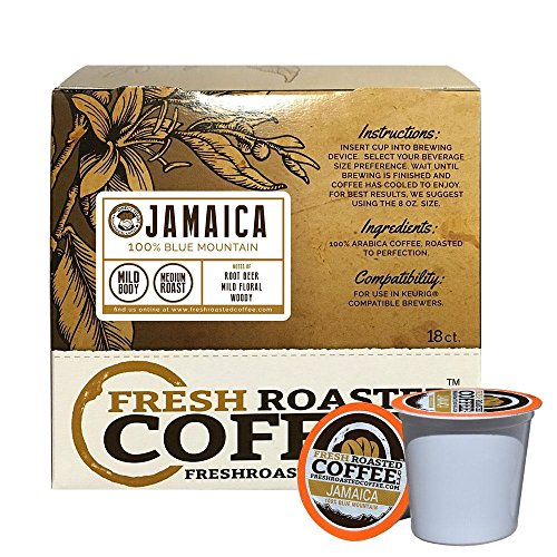 Fresh Roasted Coffee LLC, 100% Jamaica Blue Mountain Coffee Pods, Single Origin, Direct Trade, Medium Roast, Capsules Compatible with 1.0 & 2.0 Single-Serve Brewers, 18 Count