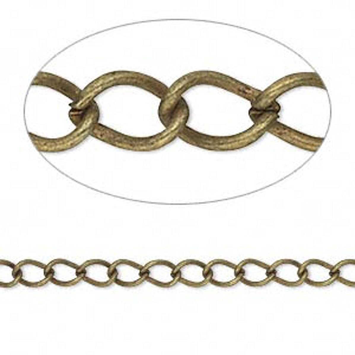 Antiqued Brass Plated Steel Twist Cable 5x3mm Link Jewelry Craft Chain Sold in bulk lot of 10 Meters (32.8 feet)