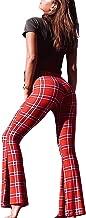 Women High Waist Flare Plaid Leggings Retro Wide Leg Pants Stretchy Bell Bottom Trousers