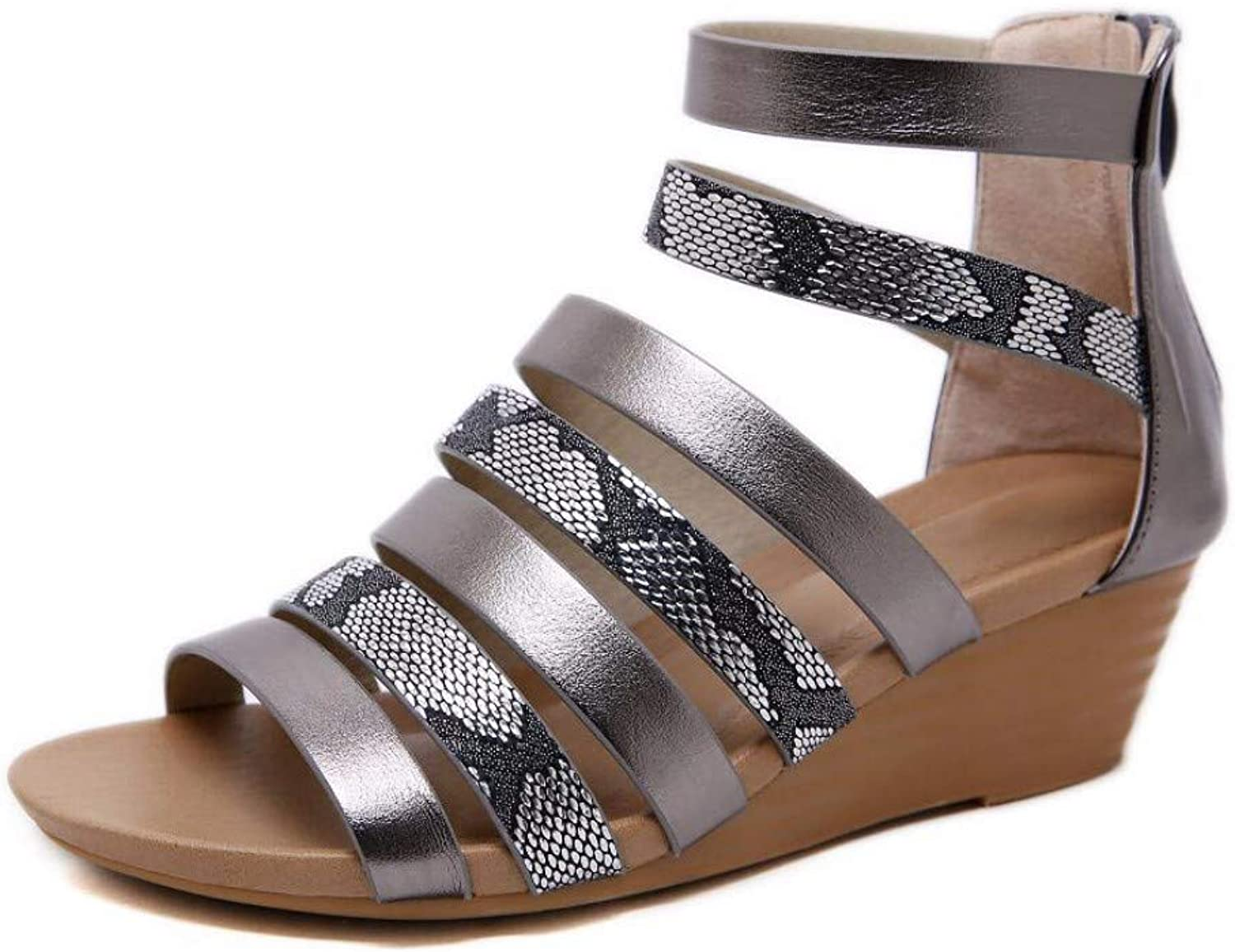 ZPSPZ sandalen damen Ladies's Summer Open -Toed Strap -on Sandals European Slope -Ferse Large -Größe Comfortable Roman schuhe,Asche,Dreiig -neun