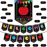 Welcome Back Banner Decorations Classroom Decoration Welcome Back Banner, Pre Strung Chalkboard Brights Pennants Welcome Back Bulletin Board Banner for Classroom Back to School Teacher Supply (Black)