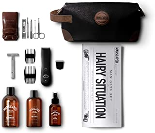 Manscaped Perfect Package 2.0 Kit Contains: Electric Trimmer, Ball Deodorant, Body Wash, Performance Spray-on-body Toner, Double Edged Straight Razor, Five Piece Nail Kit, Luxury Bag, Shaving Mats