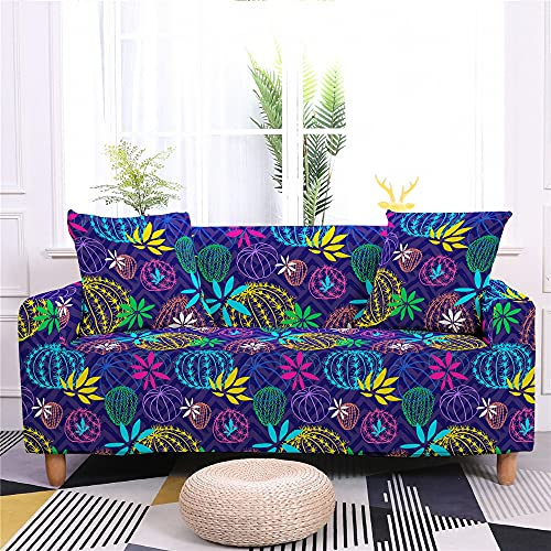 Surwin Funda Elástica para Sofá de 1/2/3/4 Plazas, 3D Impresión Universal Cubierta de Sofá Cubre Sofá Antideslizante Lavable Sofa Couch Cover Protector (Cactus,1 Plaza - 90-140cm)