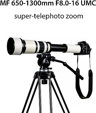 Lightdow 650-1300 mm F8.0-16 Super Telephoto Lente de Zoom Manual + T2 Adaptador para cámaras Canon Nikon Sony DSLR y cámaras sin Espejo