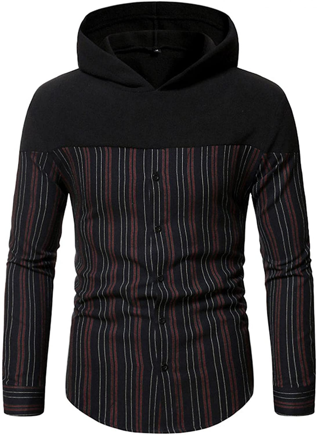 Hoodies for Men,Casual Splicing Plaid Printed Hooded Sweatshirt Checked Button Mens Hoodies Pullover Shirts Tops