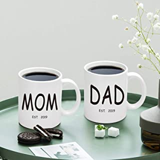 Dad and Mom Coffee Mug Set Est 2019 New Mom and Dad Gifts New Parents Pregnancy Announcement Coffee Cup 11 Oz (Dad and Mom, 11 oz)