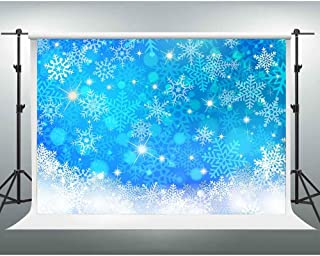 GESEN Blue Backdrop 10x7ft Shiny Snowflakes Photography Background Christmas Baby Shower Background Photo Booth Studio Props PGGE321