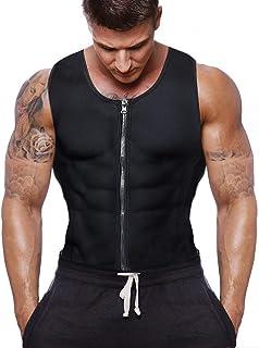 Gowhods Men Waist Trainer Vest Sweat Vest Hot Neoprene Zipper Sauna Tank Top Workout Shirt