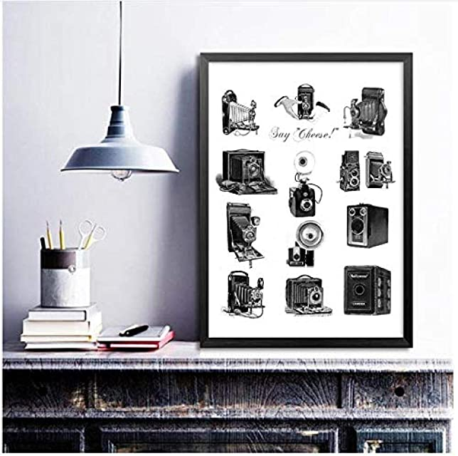 XIANGLL Cuadro En Lienzo,Cámaras Antiguas Ilustración Cartel Impresiones Fotografía Amantes Regalo Cámaras Vintage Arte Creativiteit Imagen Decoración de la Pared del hogar-50x80cm