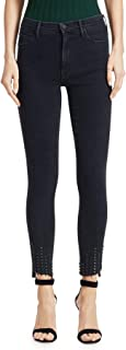 The Stunner High-Rise Ankle Skinny with Studded Step Frayed Hem in Wrong Side of The Tracks (Black)
