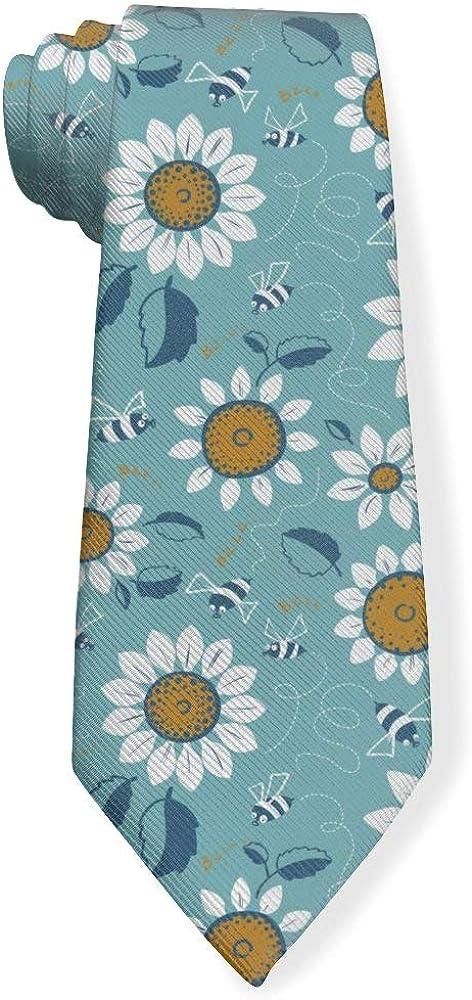 Sunflowers With Bee Spring Theme Art Mens Classic Color Slim Tie, Men's Neckties, Fashion Boys Cravats