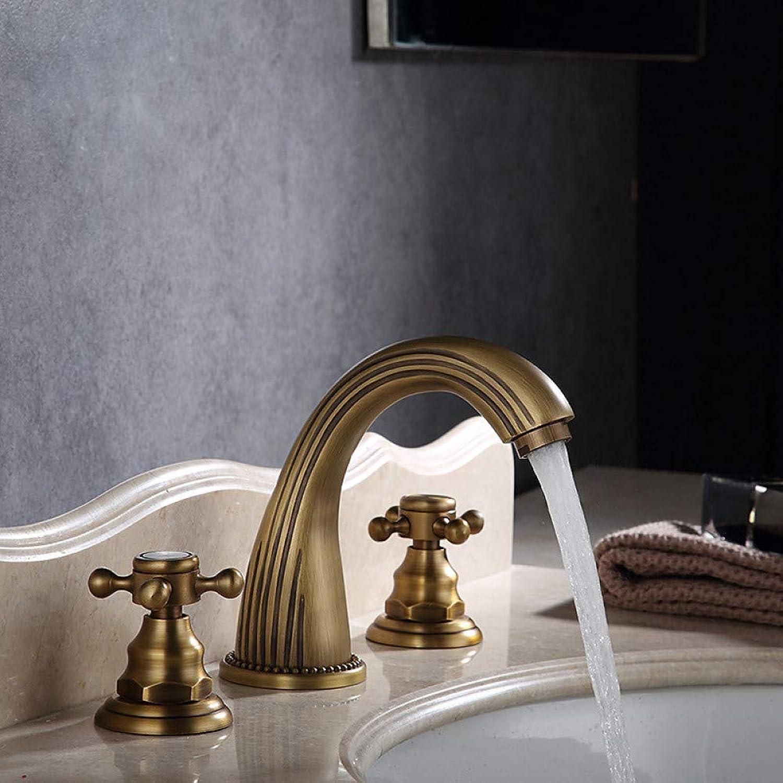 RNJDC Waschtischarmatur Bad Bathroom Sink Faucet - Widespread Antique Copper schwarz Centerset Two Handles One Bath Taps