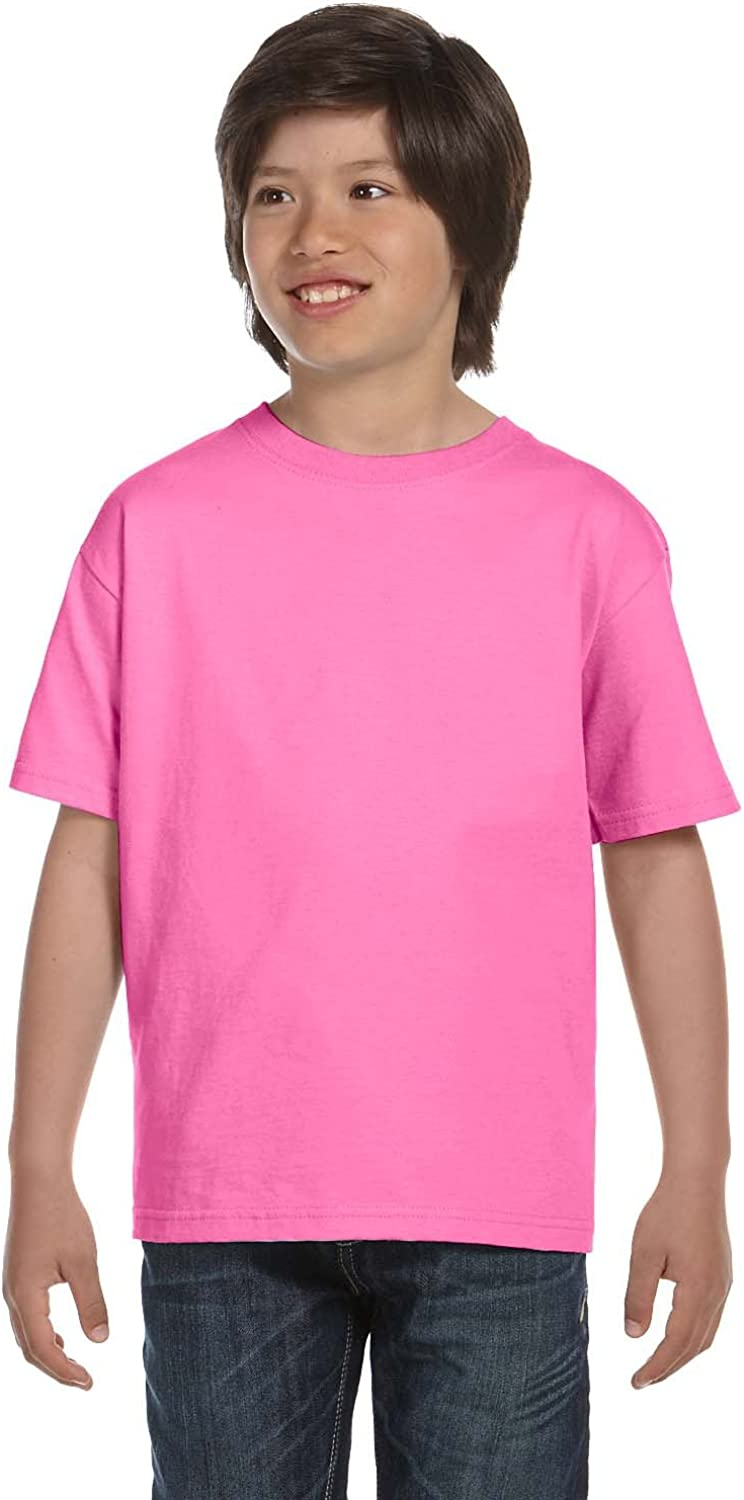 Hanes Youth 61 Oz BEEFY-T - Pink - XS - (Style # 5380 - Original Label)