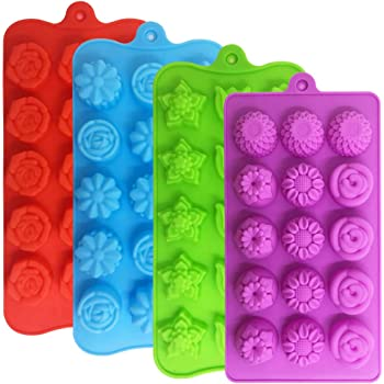 4 PACK Flower Shape Chocolate Candy Molds Set,DanziX Silicone 15 Cavity Baking Mold Ice Cube Tray for Wedding,Festival,Parties and DIY Crafts-Green,Blue,Red and Purple