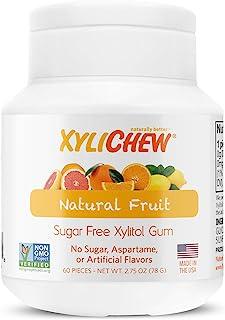 Xylichew 100% Xylitol チューイン ガム ジャー 非GMO グルテン アスパルテーム シュガー フリー ガム 口臭 口渇 フルーツ (60 カウント)