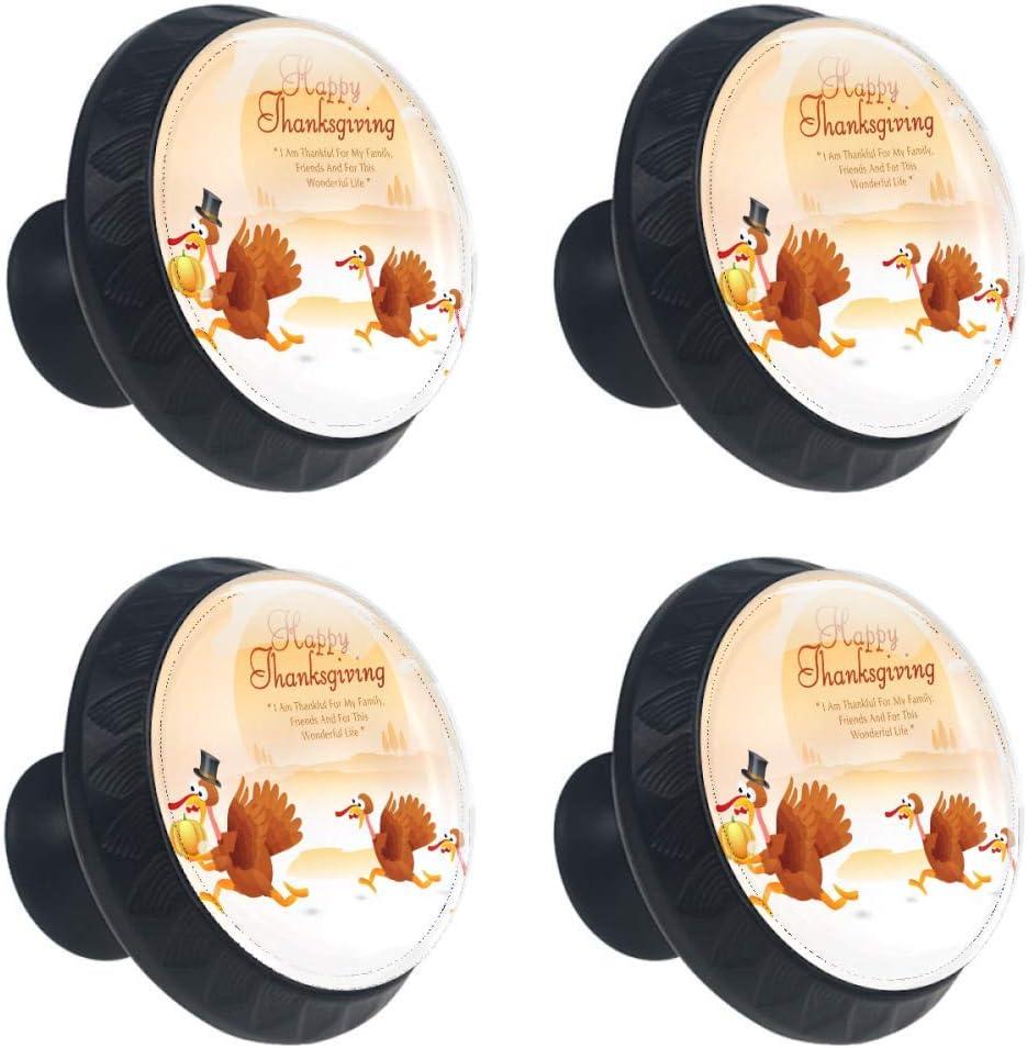 2021 spring and summer new Idealiy Happy Thanksgiving Turkeys Pumpkin Door Hand Drawer Pull Fashionable