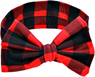 Copper Robin Buffalo Headband Little Girl`s Baby Bow, Red and Black Plaid, One Size