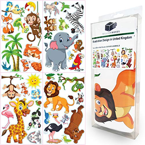 Animals Wall Stickers for Kids - Baby Room Decor Wall Sticker Toddlers Bedroom Decals Learning Removable Sticker Nursery Wall Décor Ocean Sea Animal Decals for Children Study Room Decoration (Safari)