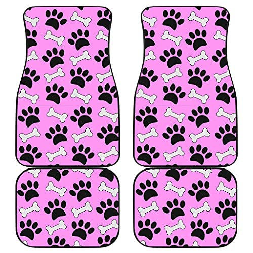 CHICKYSHIRT Dog Paws and Bones Print, Pink Theme Customized Car Floor Mat, Universal Fit Auto Floor Mat Set of 4, Fit Most Vehicle, Cars, Sedan, Truck, SUV