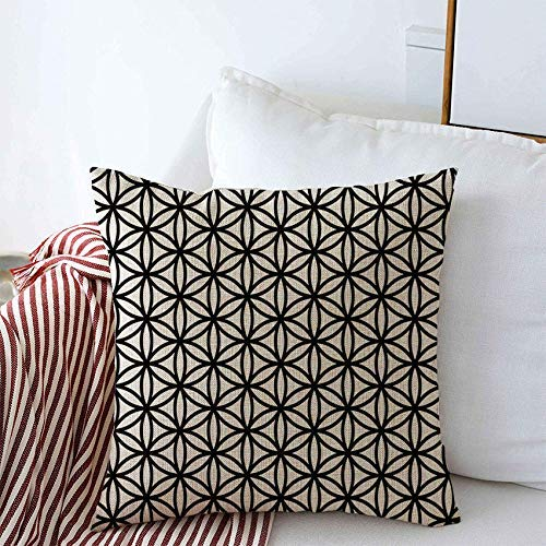 AEMAPE Throw Pillow Covers Modern Geometry Cloth Flower Life Black White Abstract Geometric Subtle Monochrome Retro Square Pillow Case 55X55 Cm