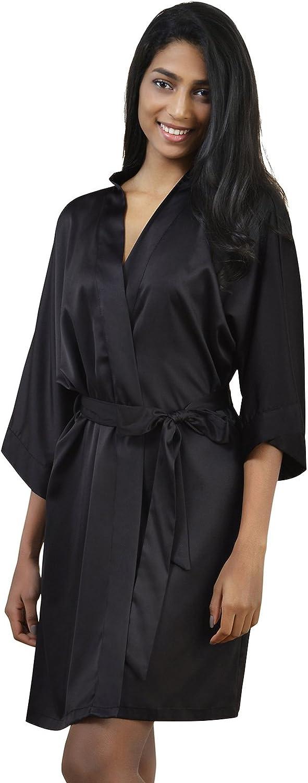 AW Satin Robe Short Kimono Birdesmaid Robes Women Bathrobe Soft Sleepwear Loungewear Spa Robe, Black L