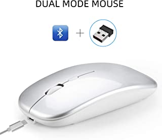 Alician Dual Mode Bluetooth 4.0 + 2.4G Wireless Mute Computer Mouse for PC Laptop Silver