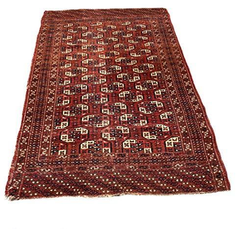 23HomeDesign Antiker turkmanischer Tekke Teppich, Feiner Handgeknüpfter Orientteppich Turkman Tekke Teppich, 177x117 cm