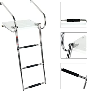 DasMarine Universal Inboard Fiberglass Swim Platform Under Mount Fold Down 3 Step 316 Stainless Steel Ladder with Two Handrails(Mounting Screws are Included)