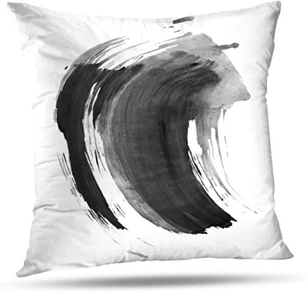 Soopat Decorative Throw Pillow Cover Square Cushion 20 X20 Ink Marble Black Stroke White Ink Brush Stroke Japanese Splatter Smear Pillowcase Home Decor Kitchen Garden Sofa
