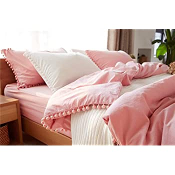 TanNicoor Pom Fringe Duvet Cover Set - 2 Piece Natural Ultra SOFE Color Washed Cotton Bedding Set, Modern Style Down Comforter Quilt Cover with Zipper Closure(Twin,Peach Pink)
