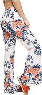 Women High Waist Floral Print Wide Leg Pants with Smocked Elastic Waistband