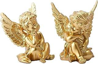 Chérubin résine statue sculpture décoratif bébé ange figurine jardin miniature or 2pcs décor maison