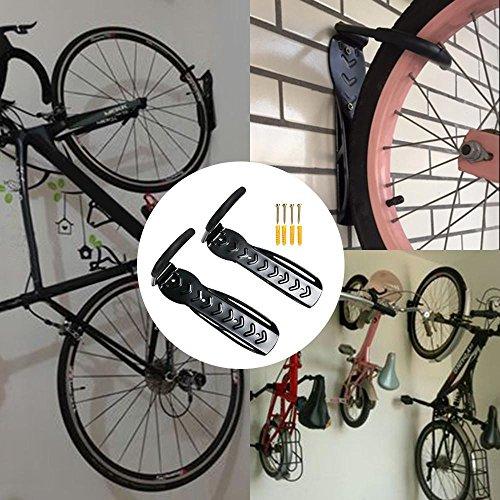 Yahee 2x Set Fahrradhalter Fahrrad Wandhalter Fahrradhaken Wandmontage Aufbewahrung mit Schrauben, Schwarz - 3