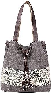 DNFC Damen Handtasche Canvas Schultertasche Umhängetasche Damen Shopper Tasche Schöne Vintage Henkeltasche Beuteltasche Grau