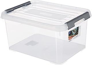 Curver HANDY + Box opbergdoos met deksel, 15 l, transparant/grijs, 39x29x20 cm