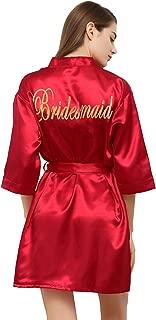 Satin Kimono Robe for Women Bride Bridesmaid Robes Wedding Party with Gold Glitter