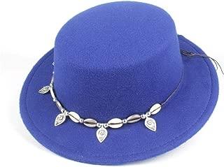 SGJFZD Fashion Men's Women's Flat Top Fedora Hat Dad Pork Pie Hat Wool Trilby Chuch Hat Fedora Hat Fascinator Size 56-58CM (Color : Blue, Size : 56-58)