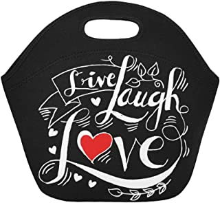InterestPrint Live Laugh Love Reusable Insulated Neoprene Lunch Tote Bag Cooler 11.93