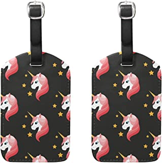 MASSIKOA Pink Unicorn Stars Cruise Luggage Tags Suitcase Labels Bag,2 Pack