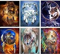 大人のオオカミのための6パック5Dダイヤモンド絵画キット、ダイヤモンドアートでペイント、数字でペイント動物獣フルドリルラウンドラインストーンクラフトキャンバス家の壁の装飾用30x40cm