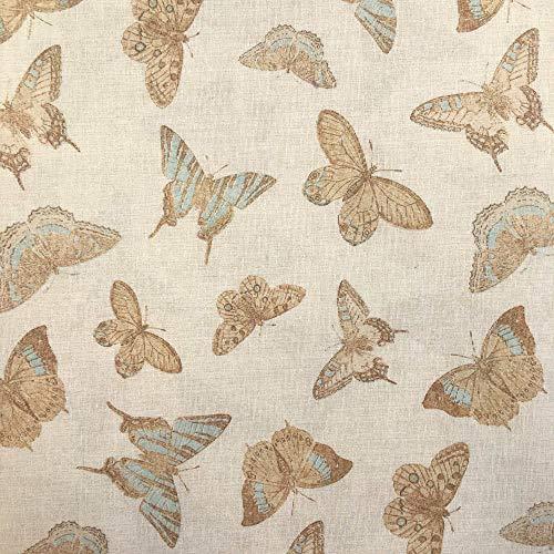 Tela por metros de loneta estampada - Ancho 280 cm - Largo a elección de 50 en 50 cm | Mariposas - Azul