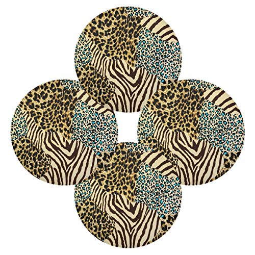 WXLIFE Placemats Set of 4, Animal Zebra Tiger Leopard Print Round Place Mats Heat Resistant Non-Slip, Washable Table Mats for Kitchen Home Dining Room