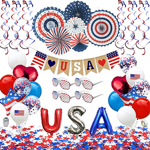 Patriotic Decorations - American Flag Party Supplies, 45 pcs