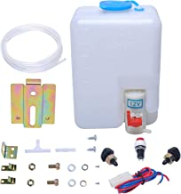 wadoy 12V Universal Car Windshield Washer Pump System with Jet Button Switch 160186 Reservoir Tank Bottle Kit
