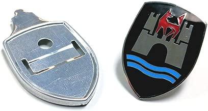 Pirate Mfg Emblem Badge Hood Wolfsburg, Black, for Type 1 Beetle 1953 Thru 1962