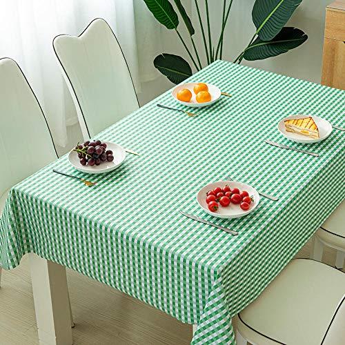 ZXCN Mantel Mesa Rectangular Impermeable PVC Simple para Comedor Cocina o Salón Grass Green 140×220cm