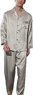 LZJDS Pure Silk Pyjamas for Men Set Long Sleepwear Pyjama Set 22 Momme Mulberry Silk Lightweight Male Pjs Nightshirt Loung...