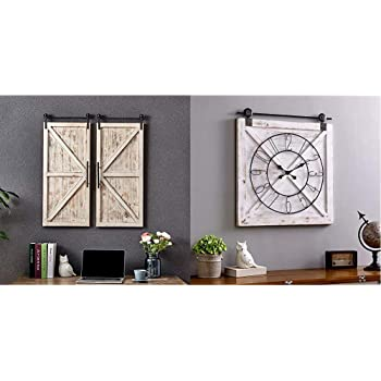 FirsTime & Co. Carriage House Barn Door Wall Plaque Set, 34%22L x 14%22W, Aged White, Metallic Gray & Farmstead Barn Door Wall Clock, 29%22H x 27%22W, Whitewash, Metallic Gray, Black